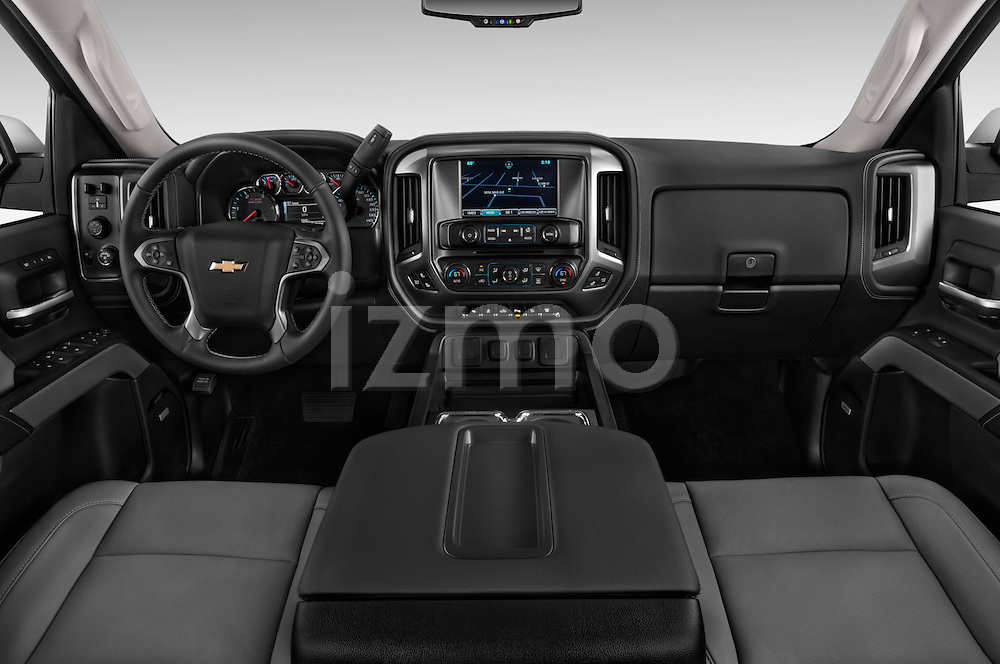 Stock photo of straight dashboard view of a 2015 Chevrolet Silverado 2500 4 Door Van