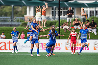 Boston, MA - Saturday July 01, 2017: Boston Breakers celebrate Margaret Purce's goal during a regular season National Women's Soccer League (NWSL) match between the Boston Breakers and the Washington Spirit at Jordan Field.