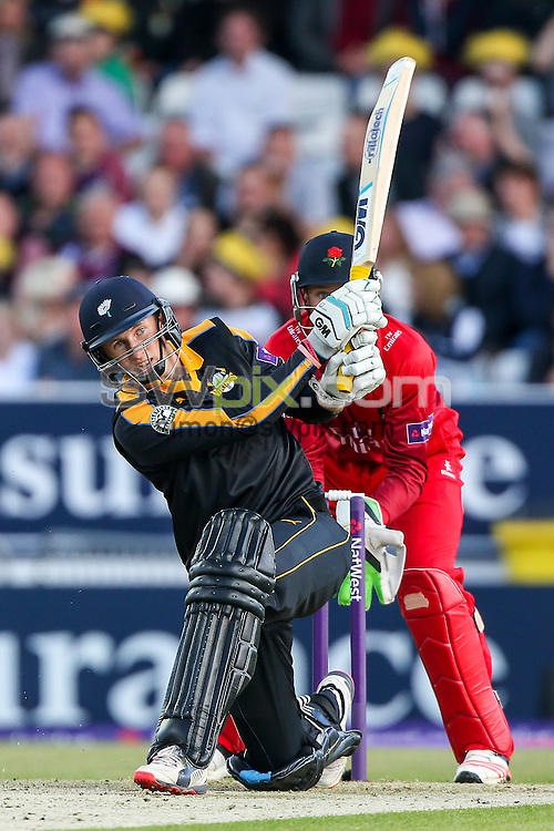 Picture by Alex Whitehead/SWpix.com - 05/06/2015 - Cricket - NatWest T20 Blast - Yorkshire Vikings v Lancashire Lightning - Headingley Cricket Ground, Leeds, England - Yorkshire's Joe Root hits out.