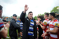 Francois Louw of Bath Rugby waves to the crowd after the match. Aviva Premiership match, between Bath Rugby and Gloucester Rugby on April 30, 2017 at the Recreation Ground in Bath, England. Photo by: Patrick Khachfe / Onside Images