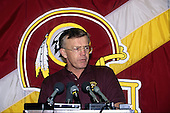 Washington Redskins head coach Joe Gibbs discusses the team's first draft choice during a press conference at Redskins Park in Herndon, Virginia on April 22, 1990.  They took their top pick, Andre Collins of Penn State, with the 46th pick of the draft in the second round. The Redskins did not have a first round draft choice after trading it to the Atlanta Falcons for Gerald Riggs.  <br /> Credit: Arnie Sachs / CNP