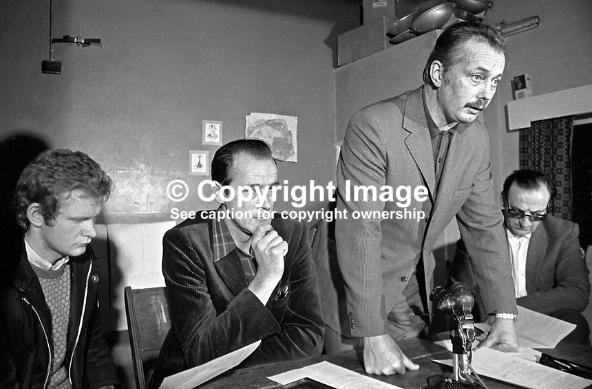 Sean MacStiofain, prominent member, speaking at Provisional IRA press conference, Londonderry, N Ireland, UK, 13 June 1972. Also in the photograph (from left) are Martin McGuinness, David O'Connell, aka Daithi O Conaill, and Seamus Twomey. 197206130393a.<br />