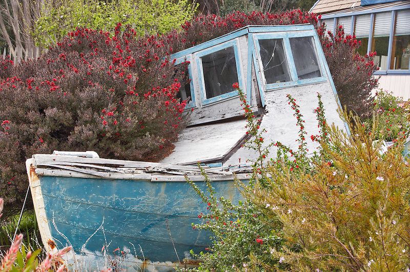 Boat in garden of Salt Point Lodge. Cal;ifornia
