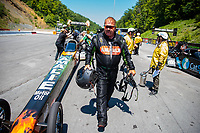 Jun 16, 2018; Bristol, TN, USA; NHRA top fuel driver Terry McMillen during qualifying for the Thunder Valley Nationals at Bristol Dragway. Mandatory Credit: Mark J. Rebilas-USA TODAY Sports