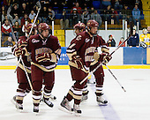 Ben Smith (BC - 12), Jimmy Hayes (BC - 10), Carl Sneep (BC - 7), Brian Dumoulin (BC - 2) celebrate Hayes' goal. - The Merrimack College Warriors defeated the Boston College Eagles 5-3 on Sunday, November 1, 2009, at Lawler Arena in North Andover, Massachusetts splitting the weekend series.