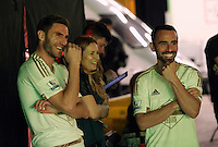 Pictured L-R: Angel Rangel, Hannah Eames and Leon Britton 01 April 2015<br />