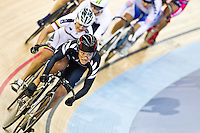 19 FEB 2012 - LONDON, GBR - New Zealand's Natasha Hansen (NZL) leads the field during a round of the Women's Keirin at the UCI Track Cycling World Cup, and London Prepares test event for the 2012 Olympic Games, in the Olympic Park Velodrome in Stratford, London, Great Britain (PHOTO (C) 2012 NIGEL FARROW)