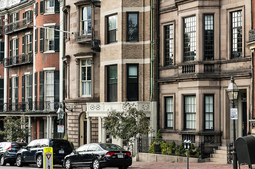Brownstone houses along Beacon Street, Beacon Hill, Boston, Massachusetts, USA