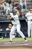 Michigan Wolverines second baseman Ako Thomas (4) at bat against the Maryland Terrapins on April 13, 2018 in a Big Ten NCAA baseball game at Ray Fisher Stadium in Ann Arbor, Michigan. Michigan defeated Maryland 10-4. (Andrew Woolley/Four Seam Images)