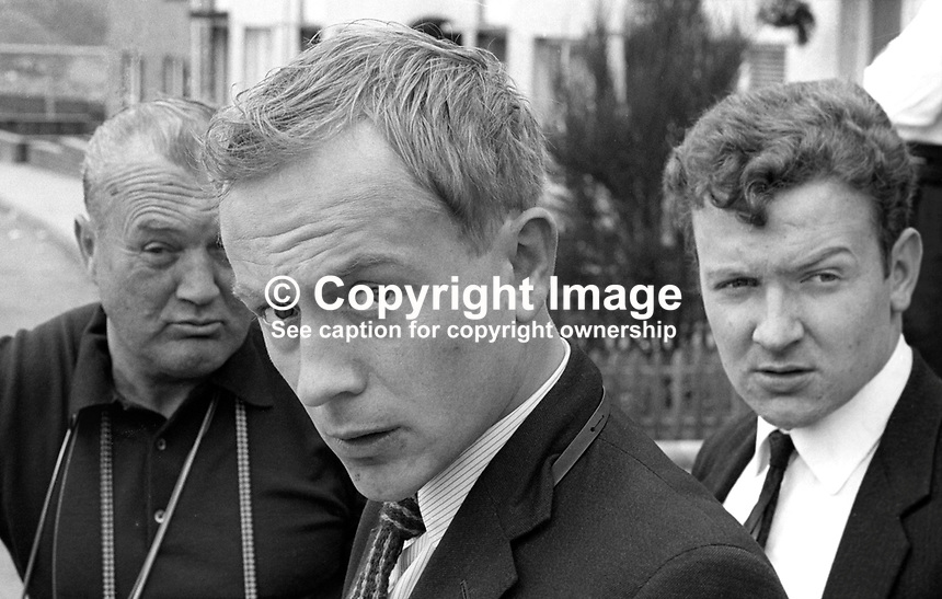 Peter Woodard, Daily Express, newspaper photographer, press photographer, Belfast, N Ireland, July 1967. Also in photo are Belfast freelance photogapher, Eddie Dineen, left, and Daily Mail reporter, Chris Buckland. 196707000002PW<br /> <br /> Copyright Image from Victor Patterson, 54 Dorchester Park, Belfast, UK, BT9 6RJ<br /> <br /> Tel: +44 28 9066 1296<br /> Mob: +44 7802 353836<br /> Voicemail +44 20 8816 7153<br /> Email: victorpatterson@me.com<br /> Email: victorpatterson@gmail.com<br /> <br /> IMPORTANT: My Terms and Conditions of Business are at www.victorpatterson.com