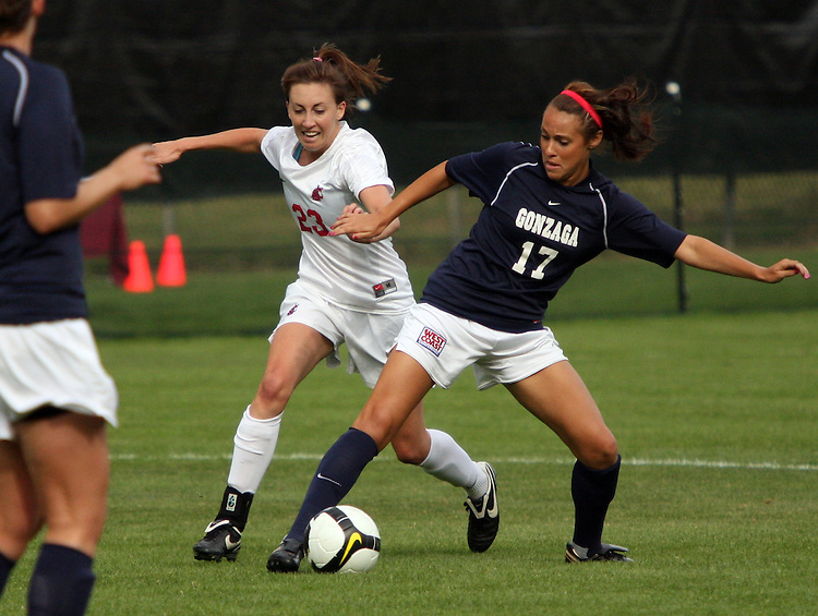 Elysse Van Leer (#23), Washington State junior midfielder, fights for the ball during the Cougars match with the Gonzaga Bulldogs in Pullman, Washington, on September 26, 2008.  A Mallory Fox goal in the first half held up as the Cougars shut out the Bulldogs, 1-0.