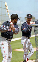 Boston Red Sox Jim Rice and Rick Burleson during spring training circa 1992 at Chain of Lakes Park in Winter Haven, Florida.  (MJA/Four Seam Images)