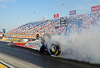 Jun. 29, 2012; Joliet, IL, USA: NHRA top fuel dragster driver Clay Millican during qualifying for the Route 66 Nationals at Route 66 Raceway. Mandatory Credit: Mark J. Rebilas-