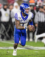 ATHENS, GA - OCTOBER 19: Lynn Bowden Jr. #1 of the Kentucky Wildcats makes a run during a game between University of Kentucky Wildcats and University of Georgia Bulldogs at Sanford Stadium on October 19, 2019 in Athens, Georgia.