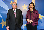 Belgium, Brussels - March 06, 2018 -- Jean-Claude JUNCKER (le), President of the European Commission, receives Katrin GOERING-ECKARDT (Göring-Eckardt) (ri), co-chairwoman of the Buendnis 90 / Die Gruenen parliamentary group in the German Parliament / Deutscher Bundestag -- Photo © HorstWagner.eu