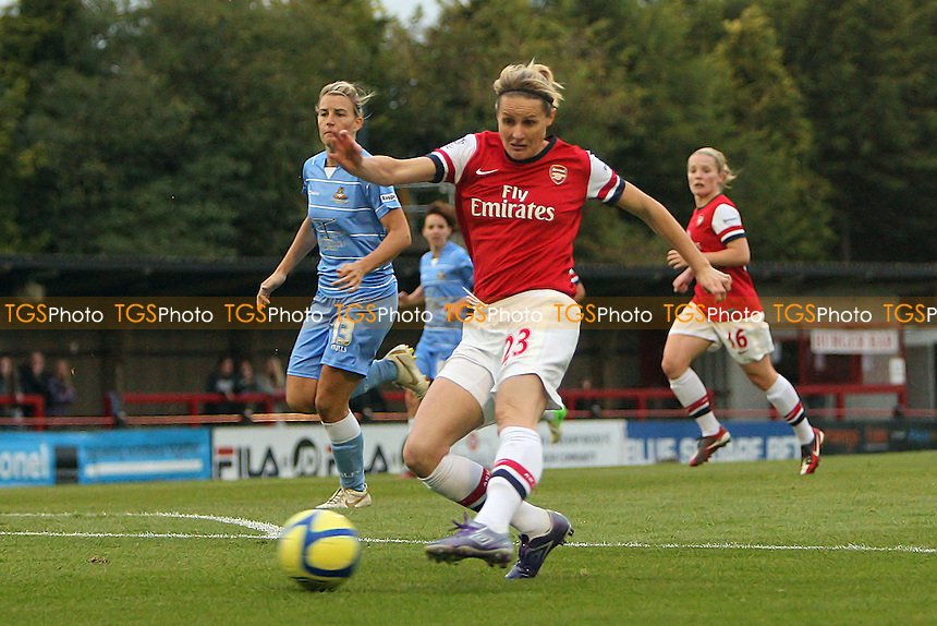 Kelly Smith of Arsenal scores the third goal for her team - Arsenal Ladies vs Doncaster Rovers Belles - FA Womens Super League Football at Boreham Wood FC - 30/09/12 - MANDATORY CREDIT: Gavin Ellis/TGSPHOTO - Self billing applies where appropriate - 0845 094 6026 - contact@tgsphoto.co.uk - NO UNPAID USE.