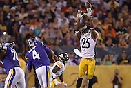 Canton, Ohio - August 9, 2015: Josh Harris #25 of the Pittsburgh Steelers tips a pass by Minnesota Vikings QB Mike Kafka during a preseason game at the Hall of Fame Stadium in Canton, Ohio, August 9, 2015.  (Photo by Don Baxter/Media Images International)