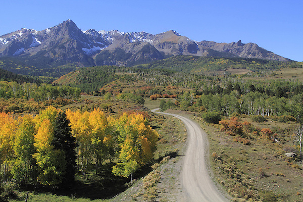 Sneffels Range with autumn colors near Telluride, Colorado.<br />