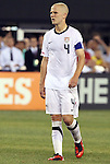 10 AUG 2010: Michael Bradley (USA) wears the captain's armband for the first time after Carlos Bocanegra (not pictured) had left the game. The United States Men's National Team lost to the Brazil Men's National Team 0-2 at New Meadowlands Stadium in East Rutherford, New Jersey in an international friendly soccer match.