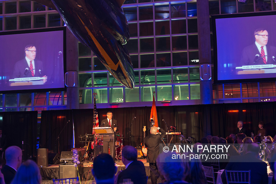 Feb. 27, 2013 - Garden City, New York, U.S. -  Honoree PETER D. RETTALIATA, speaking at podium, received the Leroy R. Grumman Award, at the 10th Annual Cradle of Aviation Museum Air & Space Gala, celebrating the 40th Anniversary of Apollo 17.