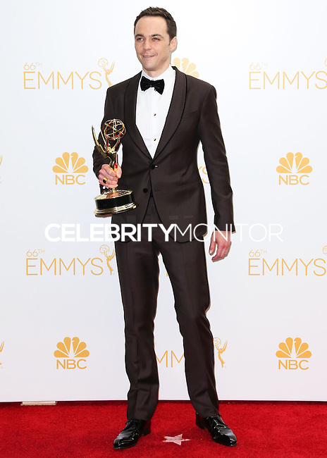 LOS ANGELES, CA, USA - AUGUST 25: Actor Jim Parsons, winner of the Outstanding Lead Actor in a Comedy Series Award for The Big Bang Theory (Episode: 'The Relationship Diremption'), poses in the press room at the 66th Annual Primetime Emmy Awards held at Nokia Theatre L.A. Live on August 25, 2014 in Los Angeles, California, United States. (Photo by Celebrity Monitor)