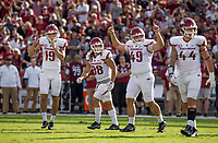 Hawgs Illustrated/BEN GOFF <br /> Connor Limpert (from left), Arkansas kicker, Reid Miller, holder, Robert Decker, long snapper, and Josh Paul, linebacker celebrate a Limpert field goal in the first quarter against South Carolina Saturday, Oct. 7, 2017, during the game at Williams-Brice Stadium in Columbia, S.C.