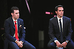 Vincenzo Nibali (ITA) and Alberto Contador (ESP) on stage at the Giro d'Italia 2018 Route Presentation held in the RAI TV Studios, Milan, Italy. 29th November 2017.<br /> Picture: LaPresse/Fabio Ferrari | Cyclefile<br /> <br /> <br /> All photos usage must carry mandatory copyright credit (&copy; Cyclefile | LaPresse/Fabio Ferrari)