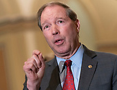 United States Senator Tom Udall (Democrat of New Mexico) speaks on Capitol Hill in Washington, DC, February 26, 2019. Credit: Chris Kleponis / CNP