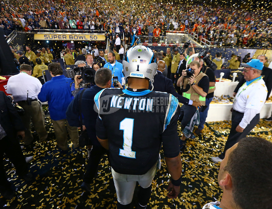 Feb 7, 2016; Santa Clara, CA, USA; Confetti falls as Carolina Panthers quarterback Cam Newton (1) reacts during his walk off the field following the game against the Denver Broncos during Super Bowl 50 at Levi's Stadium. Mandatory Credit: Mark J. Rebilas-USA TODAY Sports