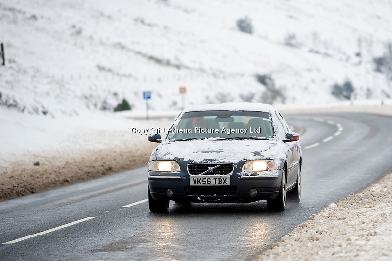 Pictured: A car drives in the snow at Libanus, in Brecon, Wales, UK. Friday 01 February 2019<br /> Re: Heavy snow and freezing temperatures affecting parts of the UK.