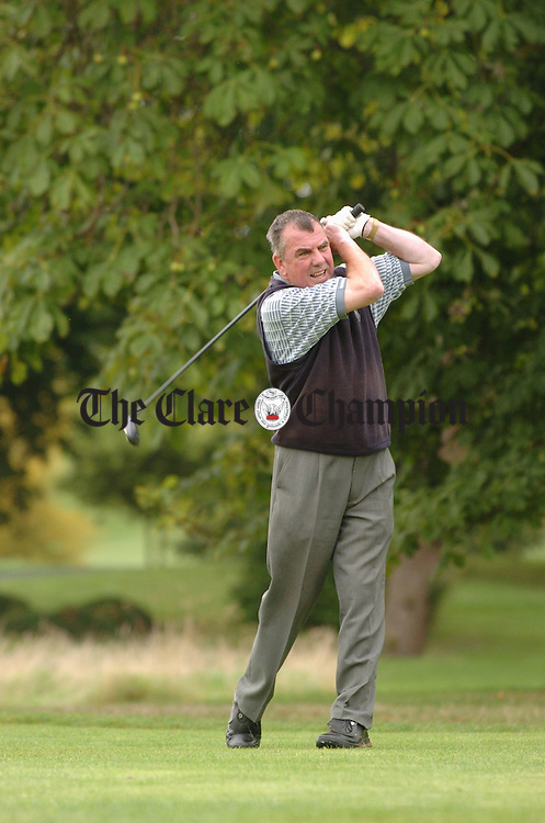 John Graney watches his tee shot go during the President's prize ( Dr Colm Hackett) at Dromoland Golf Club. Photograph by John Kelly.