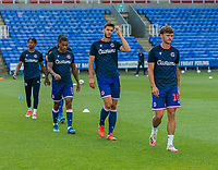 Reading players during the pre-match warm-up <br /> <br /> Photographer David Horton/CameraSport<br /> <br /> The EFL Sky Bet Championship - Reading v Swansea City - Wednesday July 22nd 2020 - Madejski Stadium - Reading <br /> <br /> World Copyright © 2020 CameraSport. All rights reserved. 43 Linden Ave. Countesthorpe. Leicester. England. LE8 5PG - Tel: +44 (0) 116 277 4147 - admin@camerasport.com - www.camerasport.com