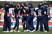 England`s Moeen Ali and team celebrate his wicket during the 5th ODI Blackcaps v England. Hagley Oval, Christchurch, New Zealand. Saturday 10 March 2018. ©Copyright Photo: Chris Symes / www.photosport.nz