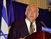 Prime Minister Benjamin Netanyahu of Israel speaks at the National Press Club in Washington, DC on July 10, 1996.<br /> Credit: Ron Sachs / CNP