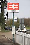 British Rail double arrow logo formed by two interlocked arrows at Melton railway station, Suffolk, England
