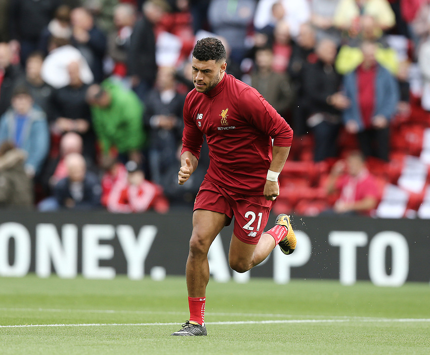 Liverpool's Alex Oxlade-Chamberlain during the pre-match warm-up <br /> <br /> Photographer Rich Linley/CameraSport<br /> <br /> The Premier League - Liverpool v Manchester United - Saturday 14th October 2017 - Anfield - Liverpool<br /> <br /> World Copyright &copy; 2017 CameraSport. All rights reserved. 43 Linden Ave. Countesthorpe. Leicester. England. LE8 5PG - Tel: +44 (0) 116 277 4147 - admin@camerasport.com - www.camerasport.com