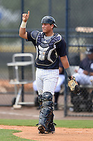 GCL Yankees 2 catcher Jesus Aparicio (36) during a game against the GCL Braves on June 23, 2014 at the Yankees Minor League Complex in Tampa, Florida.  GCL Yankees 2 defeated the GCL Braves 12-4.  (Mike Janes/Four Seam Images)