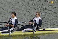"Seville. SPAIN, 17.02.2007, GBR M2X, Bow Matt WELLS and Stephen ROWBOTHAM, clear the ""Puente de la Barqueta"" [bridge] during Saturdays heats, of the FISA Team Cup, held on the River Guadalquiver course. [Photo Peter Spurrier/Intersport Images]    [Mandatory Credit, Peter Spurier/ Intersport Images]. , Rowing Course: Rio Guadalquiver Rowing Course, Seville, SPAIN,"