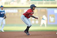 Ke'Bryan Hayes (24) of the Indianapolis Indians takes his lead off of second base against the Charlotte Knights at BB&T BallPark on April 27, 2019 in Charlotte, North Carolina. The Indians defeated the Knights 8-4. (Brian Westerholt/Four Seam Images)