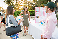 Anna Yung and Charles Witwer were interns at Russ Reid. Career Services hosts the Summer Experience Expo, where Occidental College student interns from the InternLA program and INT Internship course shared information about the organizations they worked for over the summer. Sept. 7, 2017 at Thorne Hall patio. Employers were also in attendance.<br /> (Photo by Marc Campos, Occidental College Photographer)