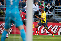 Seattle, WA - Thursday, June 16, 2016: Ecuador forward Enner Valencia (13) drives down the left flank during the Quarterfinal match of the 2016 Copa America Centenrio at CenturyLink Field.