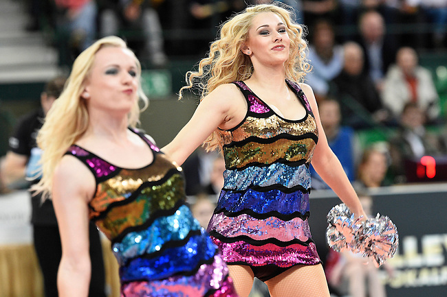 Halle/Westfalen, Germany, March 01: Cheerleaders perform during timeout during the Volleyball DVV-Pokalfinale (Damen) between Ladies in Black Aachen and Allianz MTV Stuttgart on March 1, 2015 at the Gerry Weber Stadion in Halle/Westfalen, Germany. Final score 2-3 (25-17, 25-20, 19-25, 19-25, 13-15). (Photo by Dirk Markgraf / www.265-images.com) *** Local caption ***