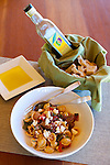 Kiler Ridge Olive Farm in Paso Robles, CA.  Central Coast Pasta, Orecchiette with grilled corn, roasted chilies and tomatoes, queso fresco, garden herbs, linguica sausage with late harvest EVOO