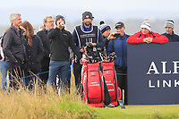 Two Wilson red bags belonging to Joakim Lagergren (SWE) and Paul Waring (ENG) on the 16th tee during Round 4 of the Alfred Dunhill Links Championship 2019 at St. Andrews Golf CLub, Fife, Scotland. 29/09/2019.<br /> Picture Thos Caffrey / Golffile.ie<br /> <br /> All photo usage must carry mandatory copyright credit (© Golffile | Thos Caffrey)