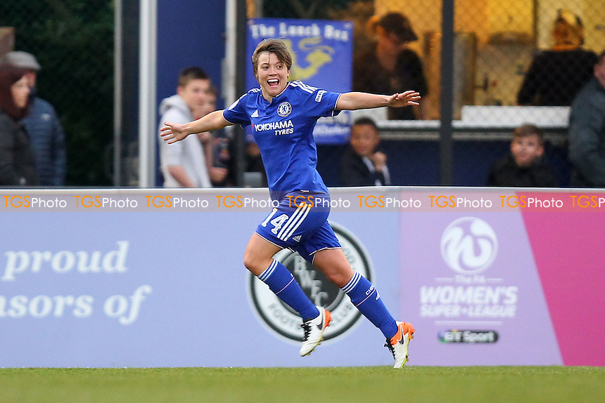 Fran Kirby of Chelsea (14) scores the second goal for her team and celebrates during Arsenal Ladies vs Chelsea Ladies, FA Women's Super League FA WSL1 Football at Meadow Park on 21st April 2016
