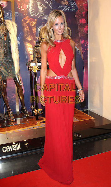 Lady Victoria Hervey.Roberto Cavalli Store Launch Party during London Fashion Week, Sloane Street, London, England, UK, .September 17th 2011..LFW full length red long maxi dress cut out  .CAP/ROS.©Steve Ross/Capital Pictures
