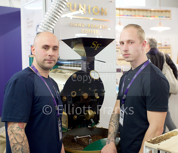 The London Coffee Festival <br /> Truman Brewery, Brick Lane, London, Great Britain <br /> 6th April 2017 <br /> <br /> General atmosphere on the opening day of the London Coffee Festival <br /> Baristas from Union Coffee about to demonstrate making coffee<br /> <br /> <br /> Photograph by Elliott Franks <br /> Image licensed to Elliott Franks Photography Services