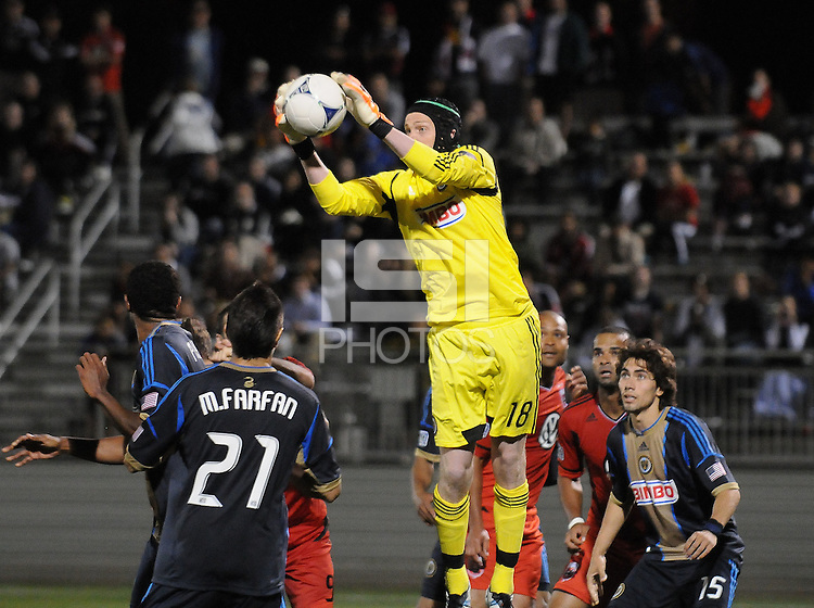 Philadelphia Union goalkeeper Zac MacMath (18) goes up to make a save. The Philadelphia Union defeated D.C. United 2-1in extra time at the round of sixteen of the Lamar Hunt U.S. Open Cup at The Maryland SoccerPlex, Tuesday June 6, 2012.