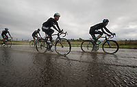 swimming lessons for Bernie Eisel (AUT) &amp; Iljo Keisse (BEL)<br /> <br /> 2013 Tour of Britain<br /> stage 1: Peebles - Drumlanrig Castle, 209km
