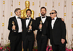HOLLYWOOD, CA - FEBRUARY 24: George Clooney, Grant Heslov, Ben Affleck and Jack Nicholson pose in the press room the 85th Annual Academy Awards at Dolby Theatre on February 24, 2013 in Hollywood, California.